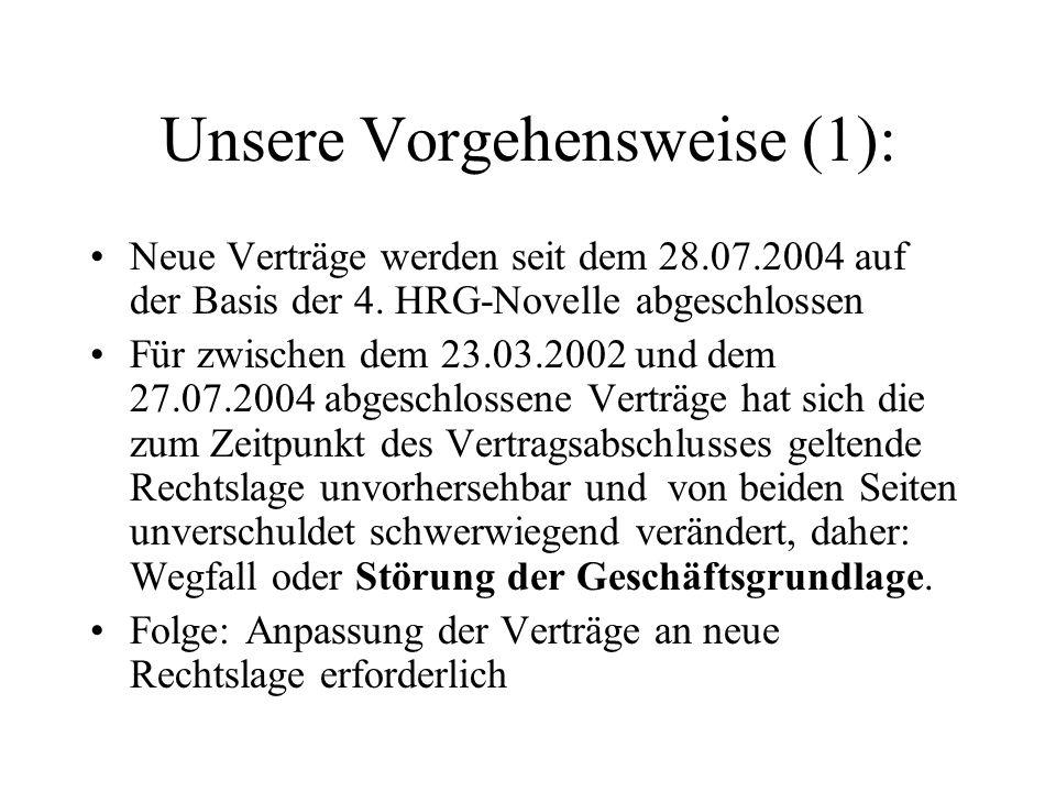 Unsere Vorgehensweise (1): Neue Verträge werden seit dem 28.07.2004 auf der Basis der 4. HRG-Novelle abgeschlossen Für zwischen dem 23.03.2002 und dem