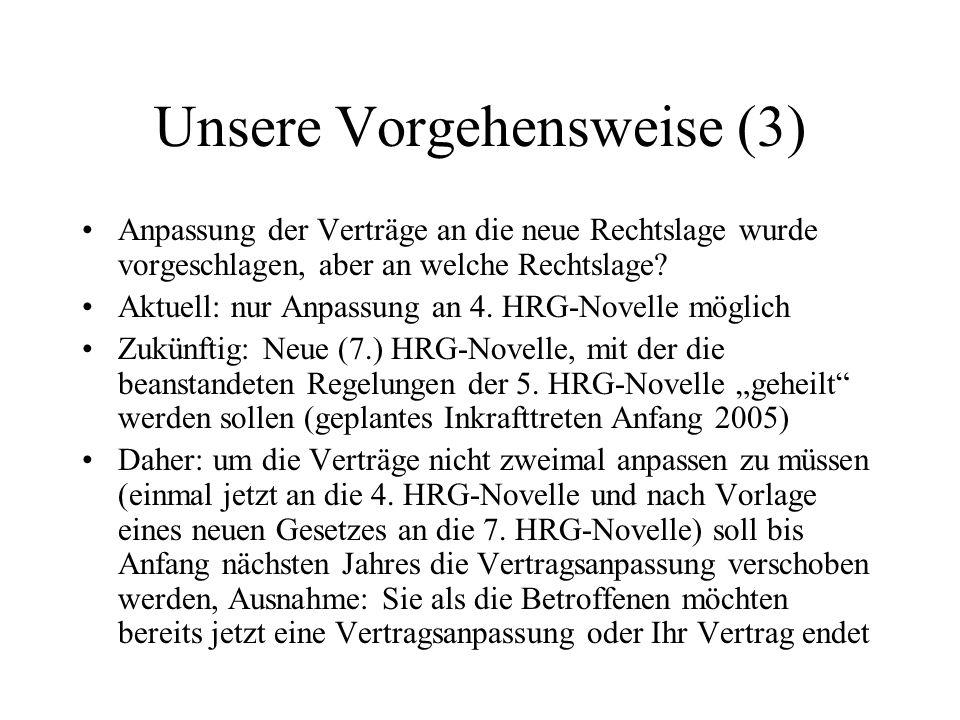 Unsere Vorgehensweise (3) Anpassung der Verträge an die neue Rechtslage wurde vorgeschlagen, aber an welche Rechtslage? Aktuell: nur Anpassung an 4. H