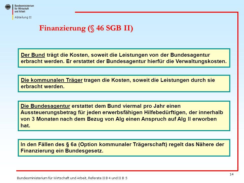 Abteilung II Bundesministerium für Wirtschaft und Arbeit, Referate II B 4 und II B 5 14 Finanzierung (§ 46 SGB II) Der Bund trägt die Kosten, soweit d