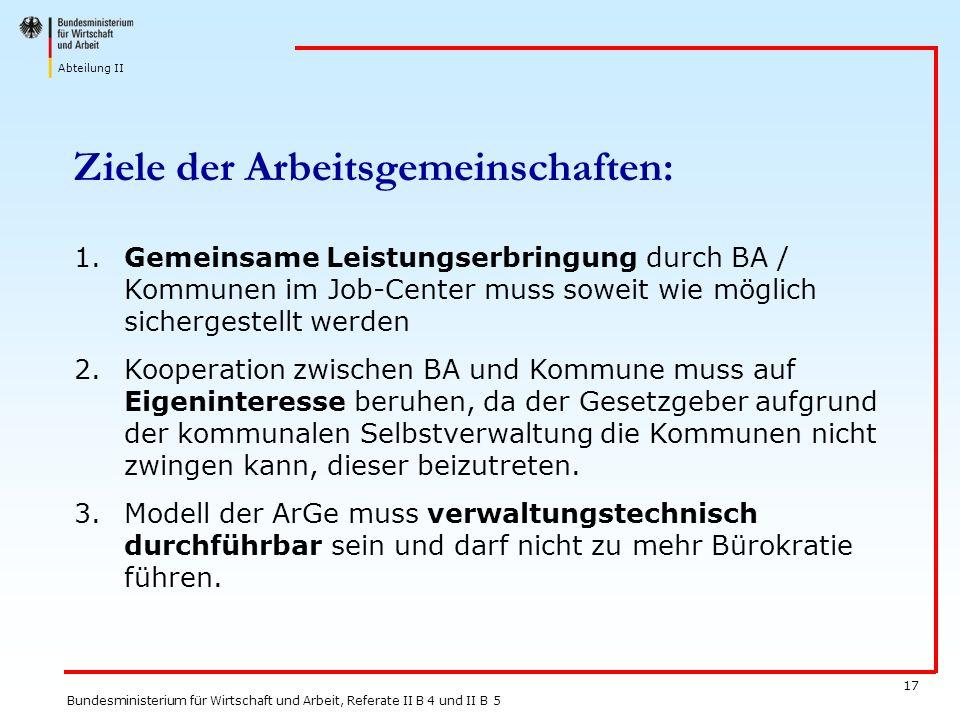Abteilung II Bundesministerium für Wirtschaft und Arbeit, Referate II B 4 und II B 5 17 Ziele der Arbeitsgemeinschaften: 1.Gemeinsame Leistungserbring