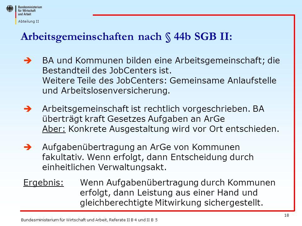 Abteilung II Bundesministerium für Wirtschaft und Arbeit, Referate II B 4 und II B 5 18 BA und Kommunen bilden eine Arbeitsgemeinschaft; die Bestandte