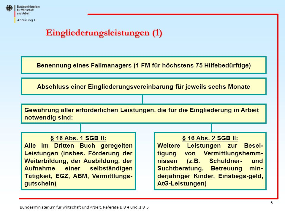 Abteilung II Bundesministerium für Wirtschaft und Arbeit, Referate II B 4 und II B 5 6 Eingliederungsleistungen (1) Benennung eines Fallmanagers (1 FM