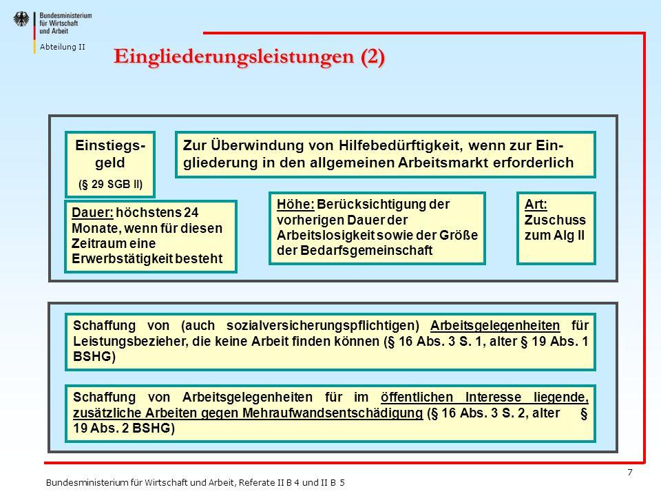 Abteilung II Bundesministerium für Wirtschaft und Arbeit, Referate II B 4 und II B 5 7 Eingliederungsleistungen (2) Zur Überwindung von Hilfebedürftig