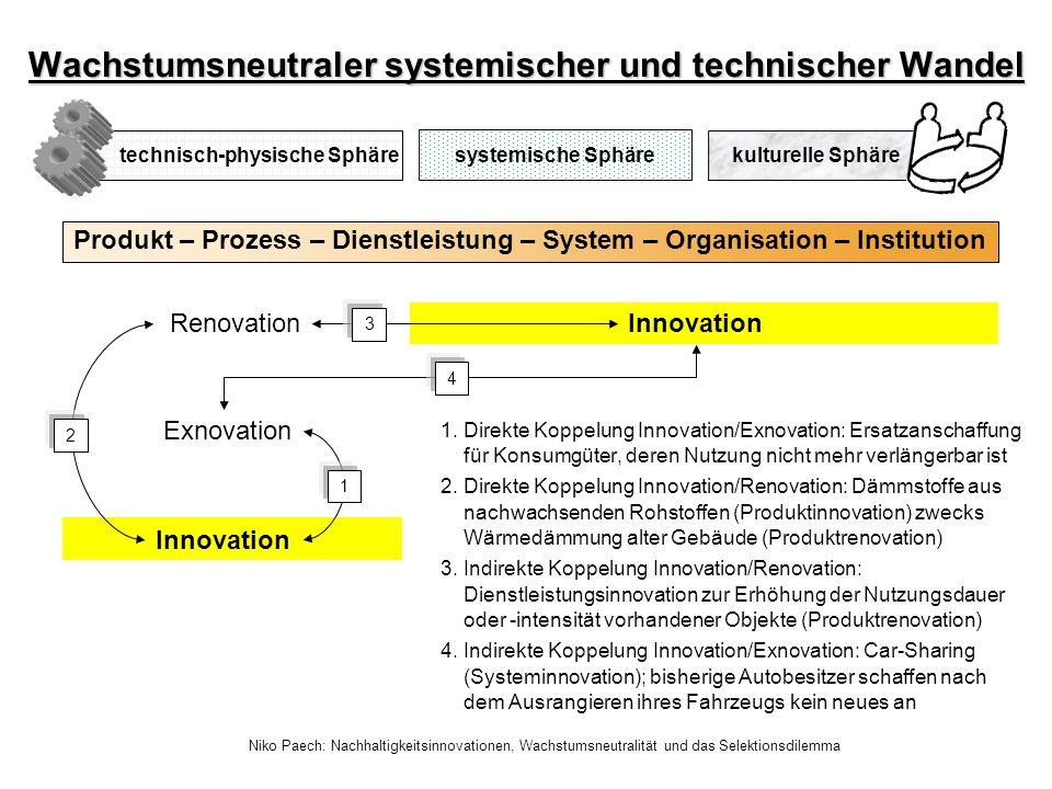 Niko Paech: Nachhaltigkeitsinnovationen, Wachstumsneutralität und das Selektionsdilemma Produkt – Prozess – Dienstleistung – System – Organisation – I