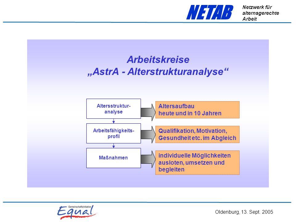 Oldenburg, 13. Sept. 2005 NETAB Netzwerk für alternsgerechte Arbeit Handlungsoptionen für Betriebe: langfristig: - Fachlaufbahnen aufwerten - Weiterbi