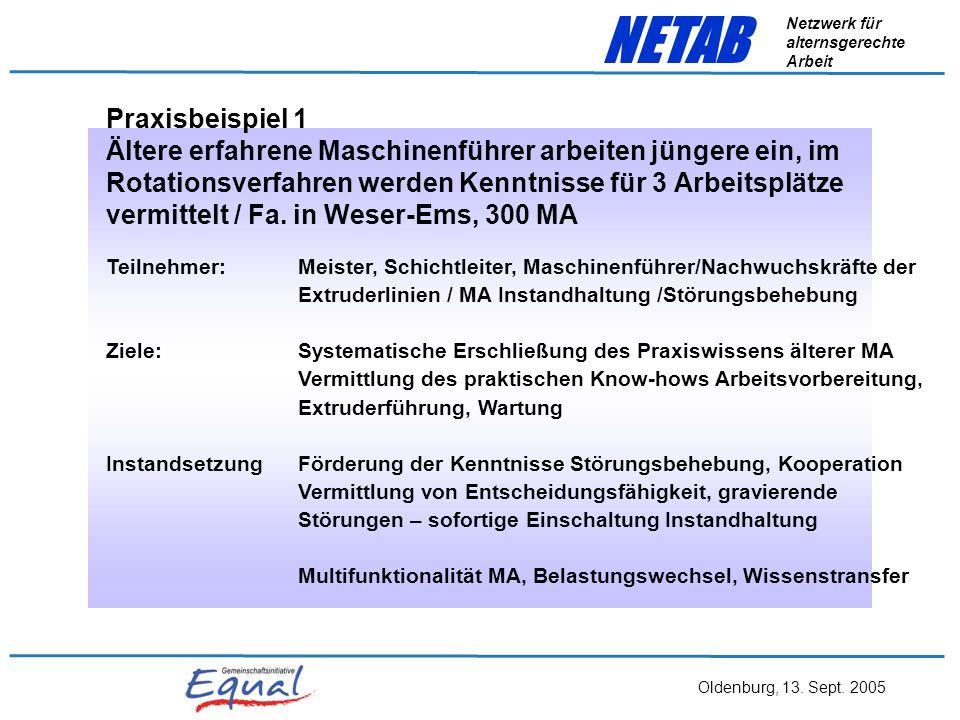 Oldenburg, 13. Sept. 2005 NETAB Netzwerk für alternsgerechte Arbeit Ergebnisse aus den Arbeitskreisen AstrA Gesundheits- kurse MA- Befragungen teilaut