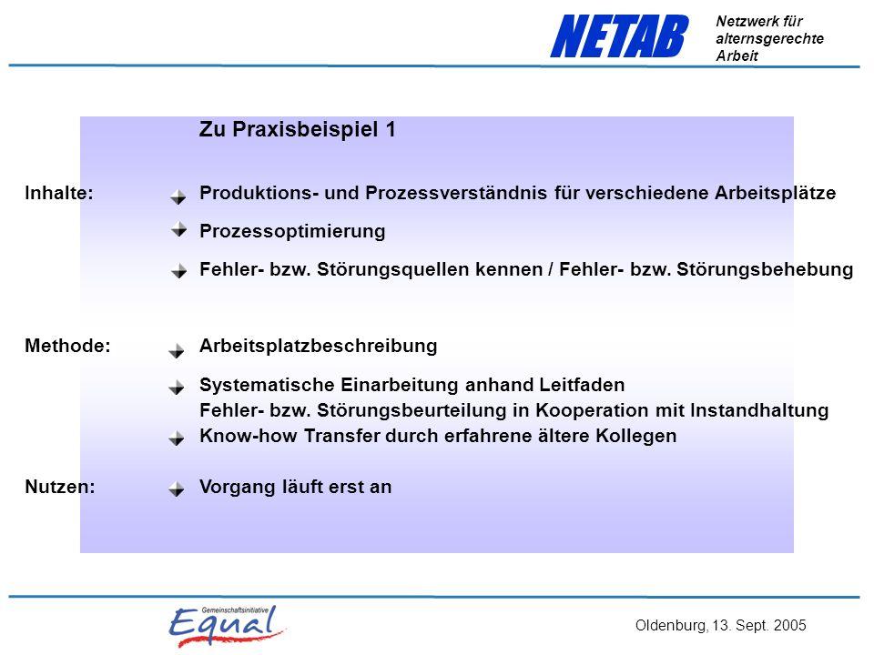 Oldenburg, 13. Sept. 2005 NETAB Netzwerk für alternsgerechte Arbeit Praxisbeispiel 1 Ältere erfahrene Maschinenführer arbeiten jüngere ein, im Rotatio