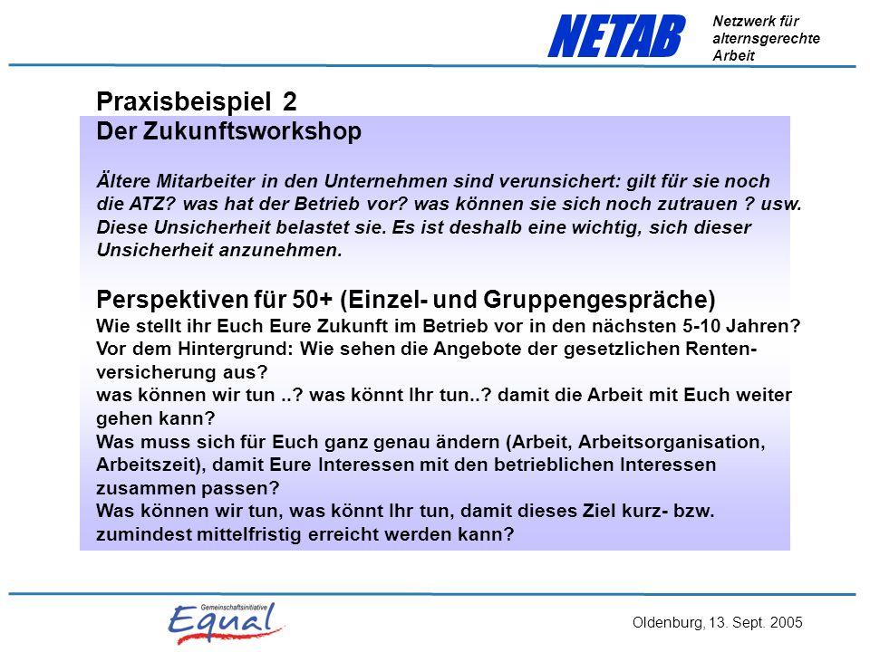 Oldenburg, 13. Sept. 2005 NETAB Netzwerk für alternsgerechte Arbeit Zu Praxisbeispiel 1 Inhalte:Produktions- und Prozessverständnis für verschiedene A