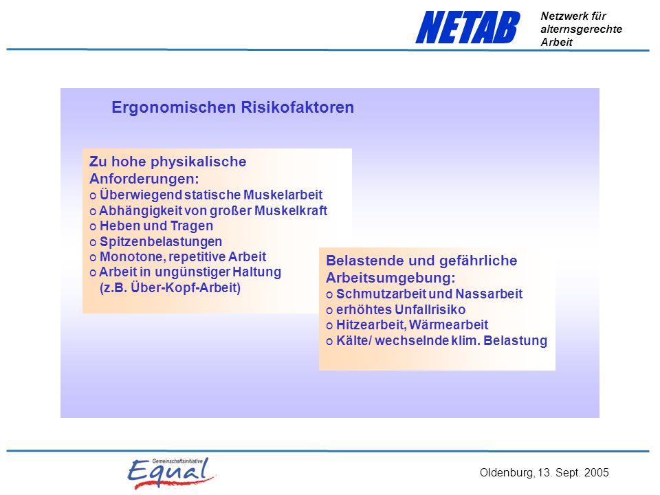 Oldenburg, 13. Sept. 2005 NETAB Netzwerk für alternsgerechte Arbeit Beziehung zwischen menschlichen Ressourcen und Arbeitsanforderung Quelle: Ilmarine