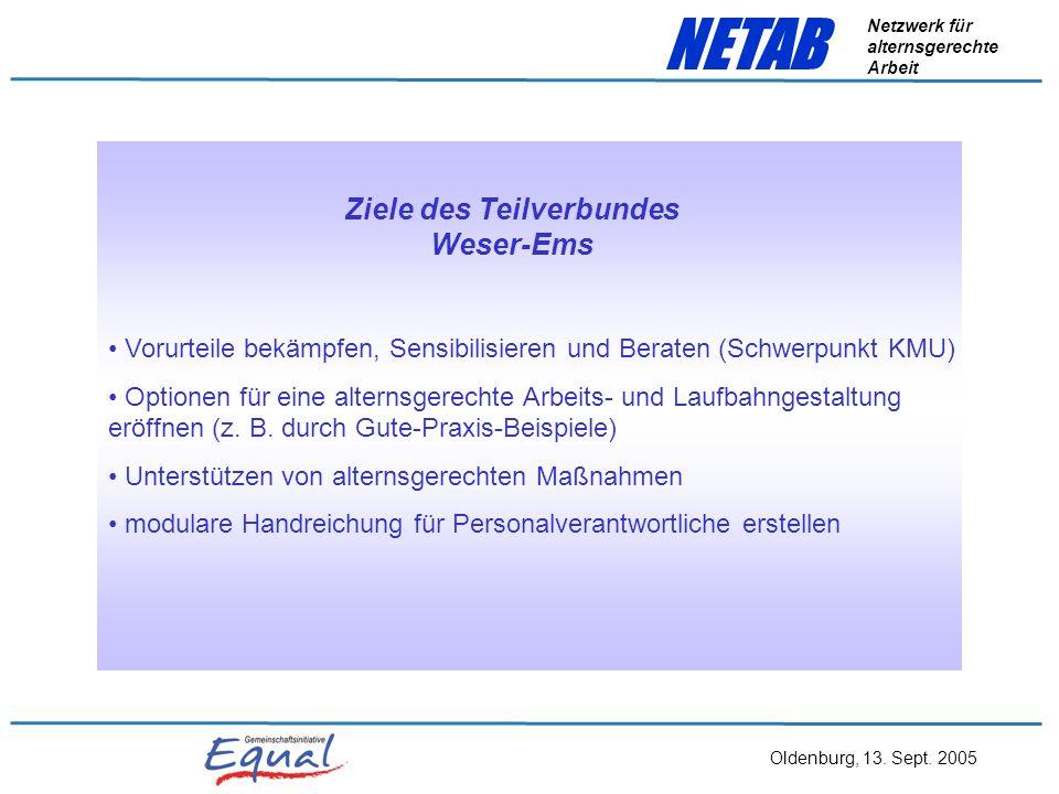 Oldenburg, 13. Sept. 2005 NETAB Netzwerk für alternsgerechte Arbeit