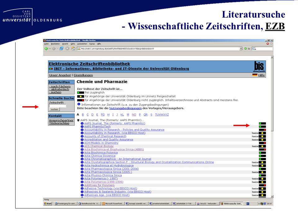 Literatursuche - Wissenschaftliche Zeitschriften, EZBEZB