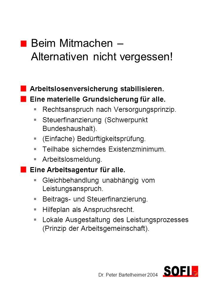 Dr. Peter Bartelheimer 2004 Beim Mitmachen – Alternativen nicht vergessen! Arbeitslosenversicherung stabilisieren. Eine materielle Grundsicherung für