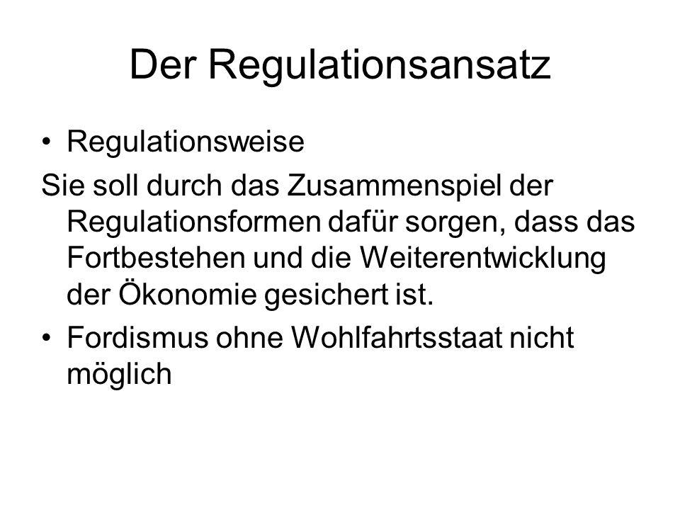 Der Regulationsansatz Regulationsweise Sie soll durch das Zusammenspiel der Regulationsformen dafür sorgen, dass das Fortbestehen und die Weiterentwic