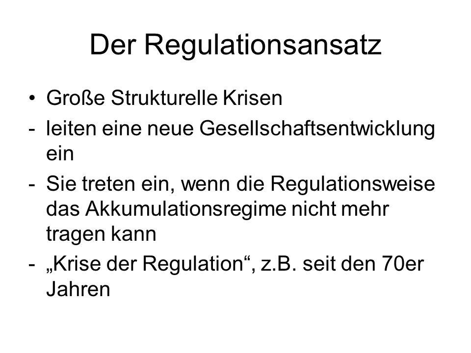 Der Regulationsansatz Große Strukturelle Krisen -leiten eine neue Gesellschaftsentwicklung ein -Sie treten ein, wenn die Regulationsweise das Akkumula