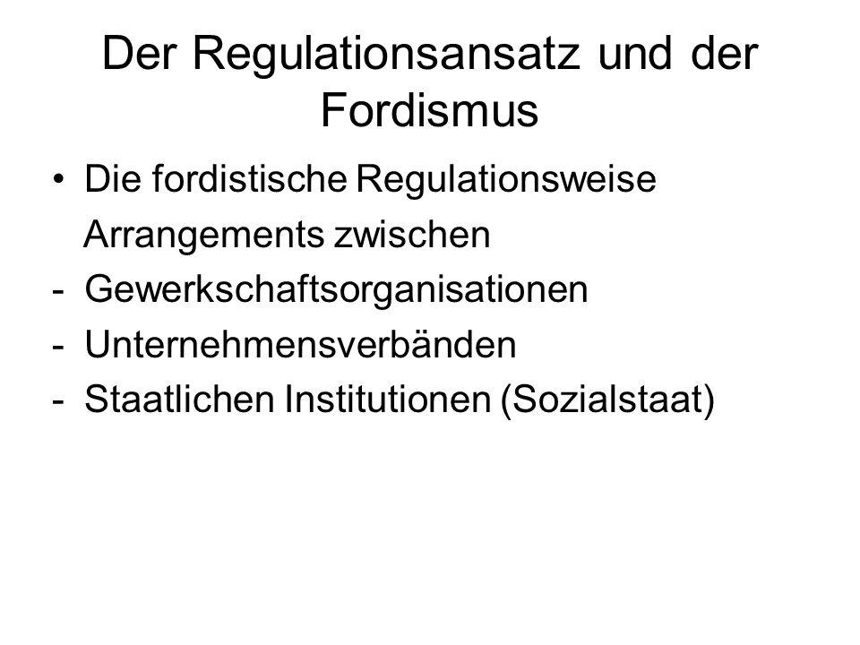 Der Regulationsansatz und der Fordismus Die fordistische Regulationsweise Arrangements zwischen -Gewerkschaftsorganisationen -Unternehmensverbänden -S