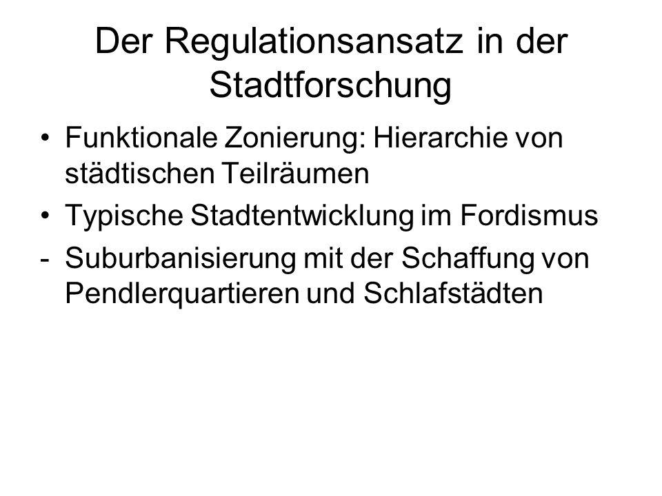 Der Regulationsansatz in der Stadtforschung Funktionale Zonierung: Hierarchie von städtischen Teilräumen Typische Stadtentwicklung im Fordismus -Subur