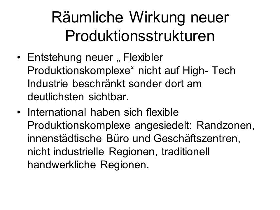 Räumliche Wirkung neuer Produktionsstrukturen Entstehung neuer Flexibler Produktionskomplexe nicht auf High- Tech Industrie beschränkt sonder dort am