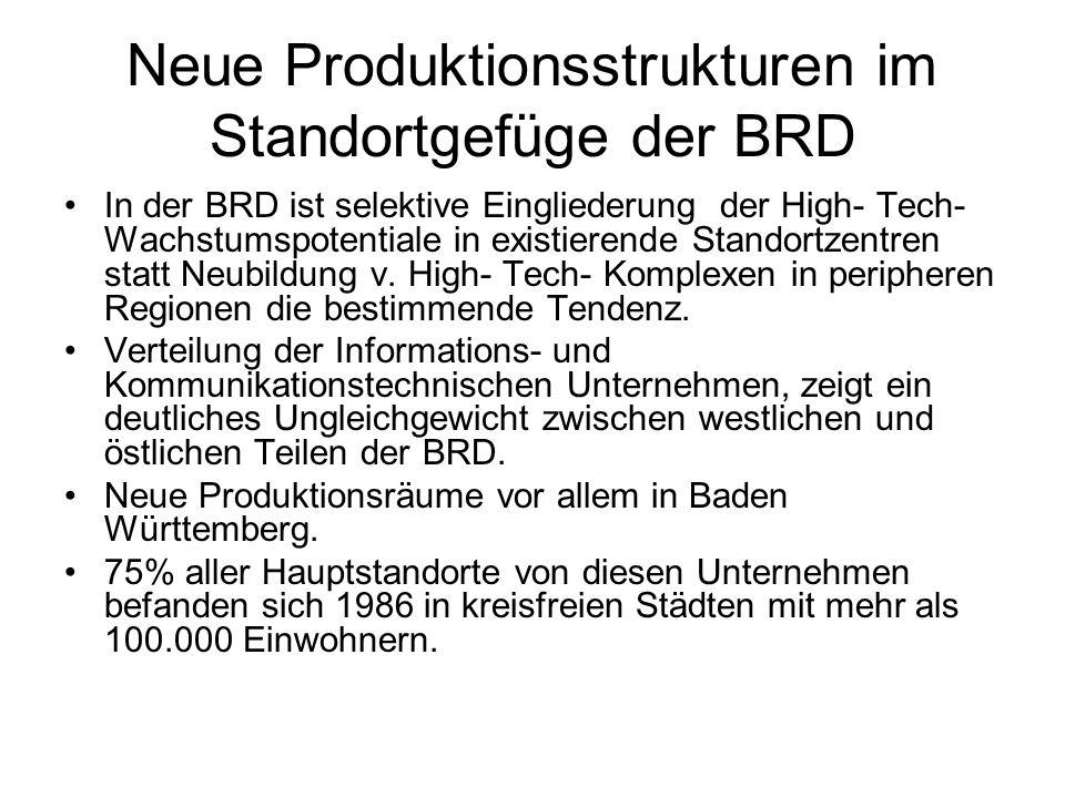 Neue Produktionsstrukturen im Standortgefüge der BRD In der BRD ist selektive Eingliederung der High- Tech- Wachstumspotentiale in existierende Stando