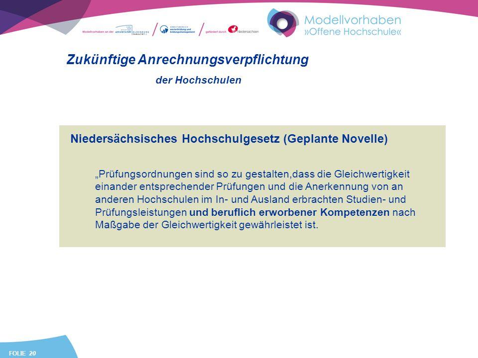 FOLIE 20 Niedersächsisches Hochschulgesetz (Geplante Novelle) Prüfungsordnungen sind so zu gestalten,dass die Gleichwertigkeit einander entsprechender