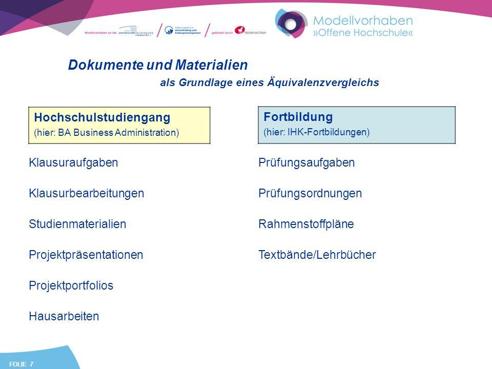 FOLIE 7 Dokumente und Materialien Hochschulstudiengang (hier: BA Business Administration) Fortbildung (hier: IHK-Fortbildungen) Klausuraufgaben Klausu