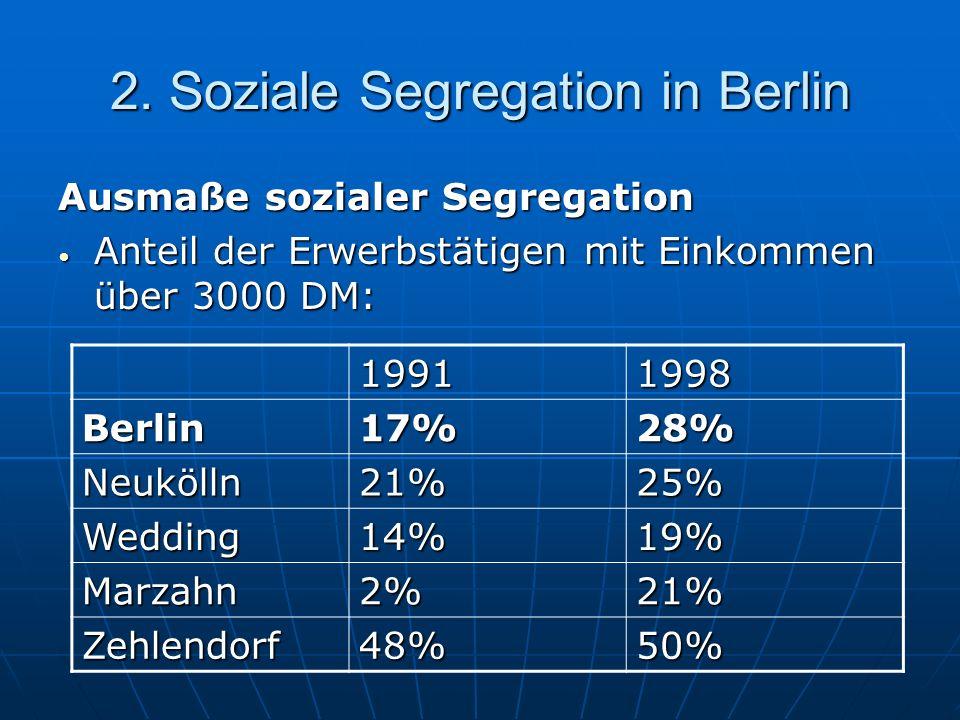 2. Soziale Segregation in Berlin Ausmaße sozialer Segregation Anteil der Erwerbstätigen mit Einkommen über 3000 DM: Anteil der Erwerbstätigen mit Eink