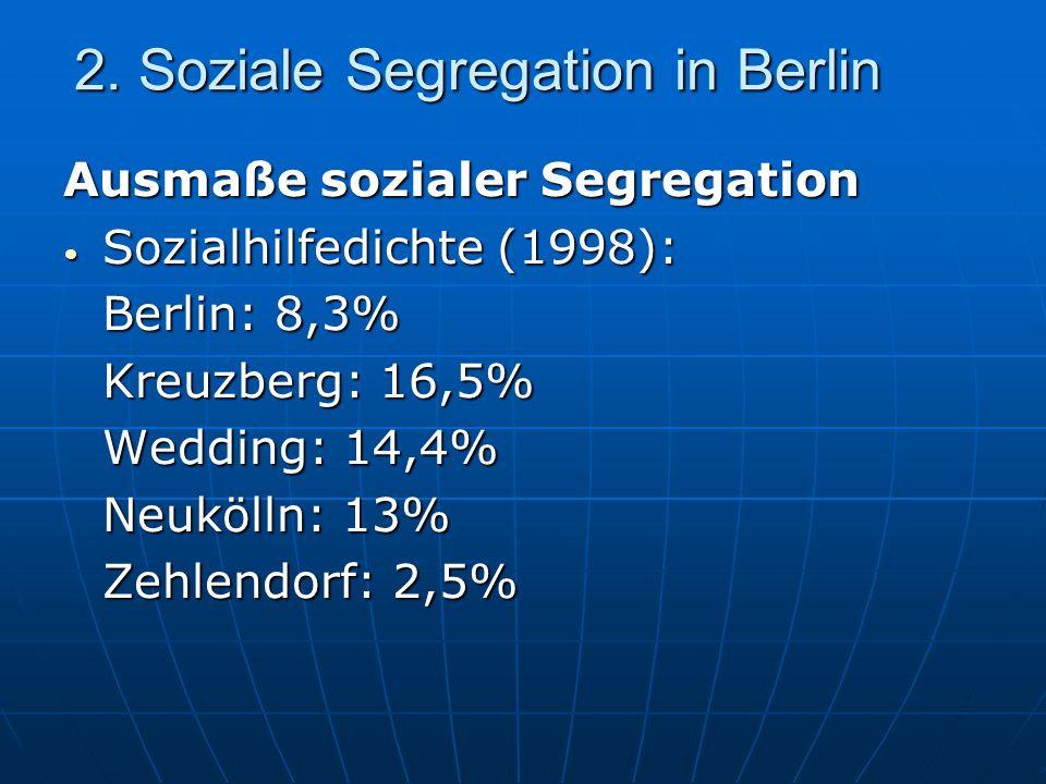 2. Soziale Segregation in Berlin Ausmaße sozialer Segregation Sozialhilfedichte (1998): Sozialhilfedichte (1998): Berlin: 8,3% Kreuzberg: 16,5% Weddin