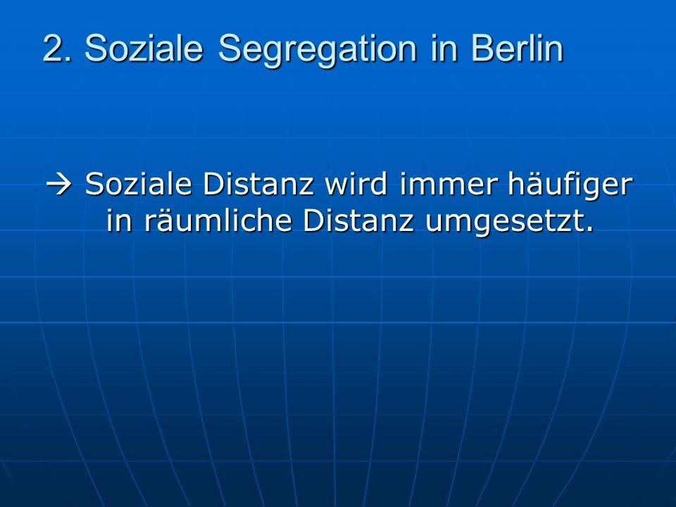 2. Soziale Segregation in Berlin Soziale Distanz wird immer häufiger in räumliche Distanz umgesetzt. Soziale Distanz wird immer häufiger in räumliche