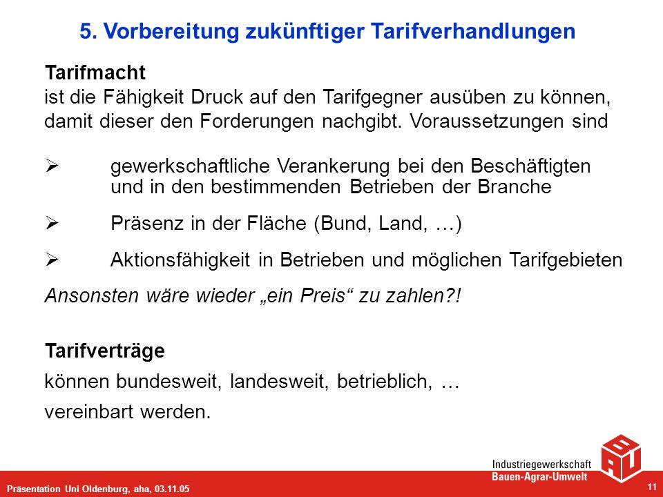 Präsentation Uni Oldenburg, aha, 03.11.05 11 5. Vorbereitung zukünftiger Tarifverhandlungen Tarifmacht ist die Fähigkeit Druck auf den Tarifgegner aus