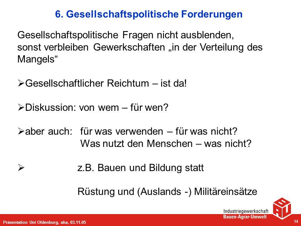Präsentation Uni Oldenburg, aha, 03.11.05 14 6. Gesellschaftspolitische Forderungen Gesellschaftspolitische Fragen nicht ausblenden, sonst verbleiben