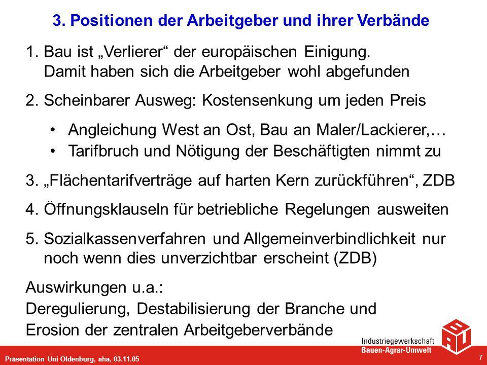 Präsentation Uni Oldenburg, aha, 03.11.05 7 3. Positionen der Arbeitgeber und ihrer Verbände 1.Bau ist Verlierer der europäischen Einigung. Damit habe