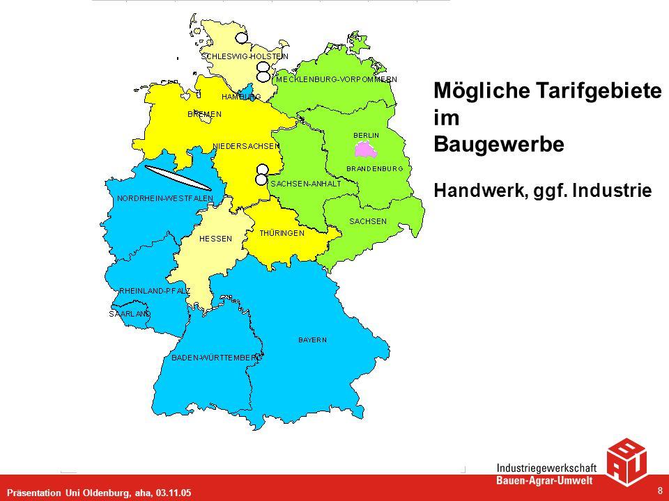 Präsentation Uni Oldenburg, aha, 03.11.05 8 Mögliche Tarifgebiete im Baugewerbe Handwerk, ggf. Industrie