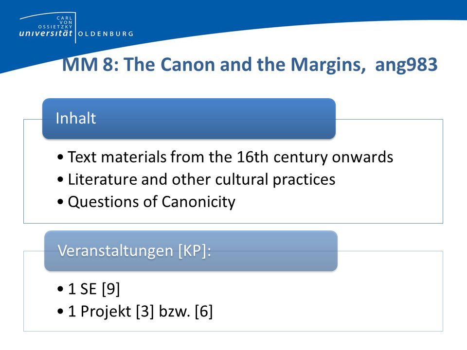 MM 8: The Canon and the Margins, ang983 Text materials from the 16th century onwards Literature and other cultural practices Questions of Canonicity I