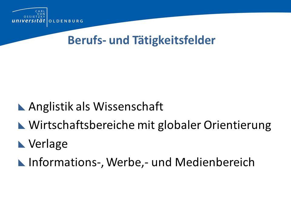 Berufs- und Tätigkeitsfelder Anglistik als Wissenschaft Wirtschaftsbereiche mit globaler Orientierung Verlage Informations-, Werbe,- und Medienbereich