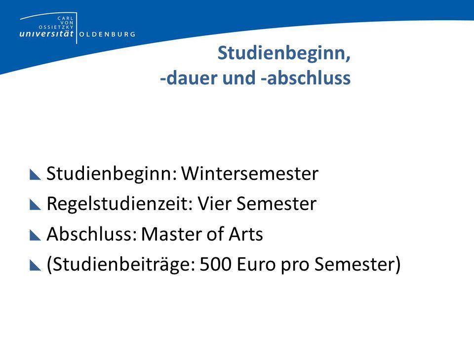 Studienbeginn, -dauer und -abschluss Studienbeginn: Wintersemester Regelstudienzeit: Vier Semester Abschluss: Master of Arts (Studienbeiträge: 500 Euro pro Semester)