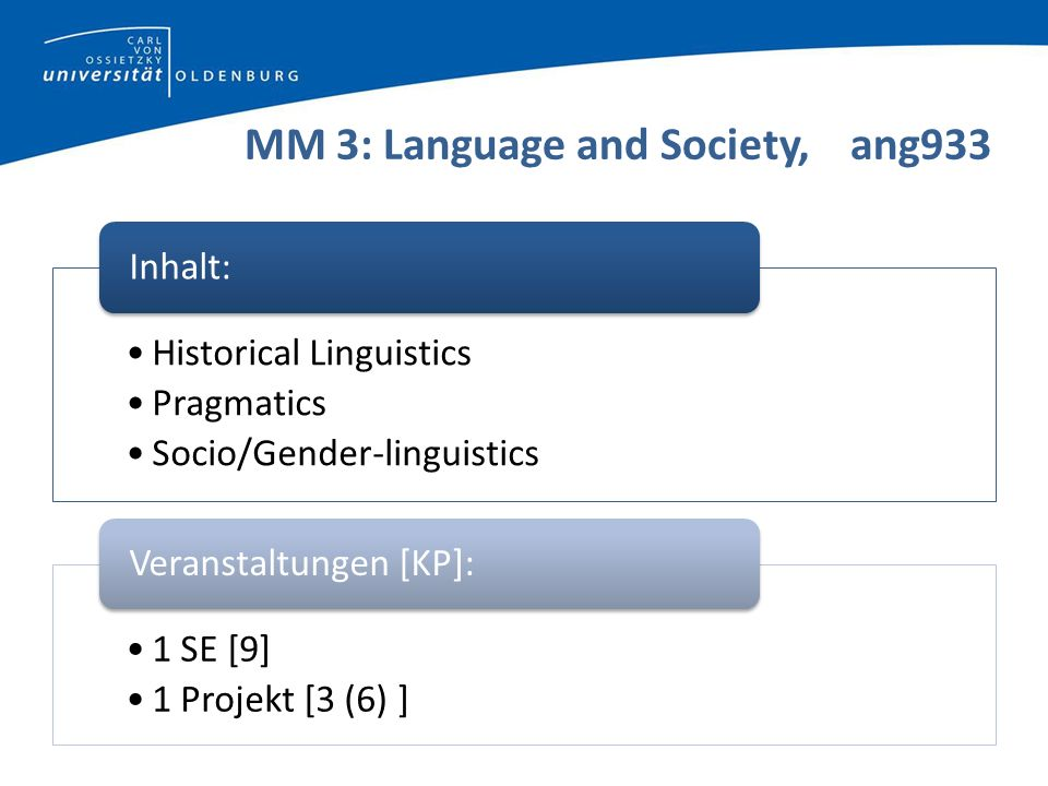 Beispiel Language and Society Seminar: World Englishes (WS 13/14) (Geluykens) (there also is Lexical Semantics/take 1 Sem only) Projekt:small independent (written) project based on S (Fakultätsmodul: 2 small projects or one larger project – 6 KP)