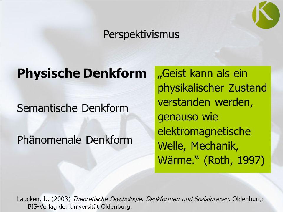 Physische Denkform Semantische Denkform Phänomenale Denkform Laucken, U.