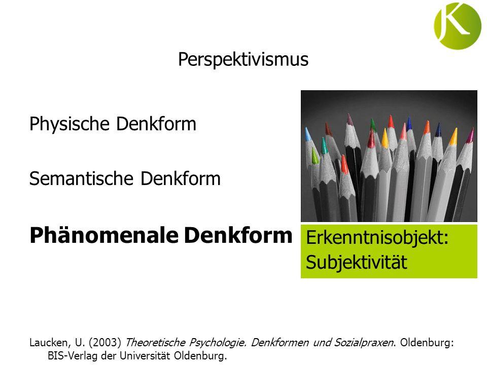 Physische Denkform Semantische Denkform Phänomenale Denkform Laucken, U. (2003) Theoretische Psychologie. Denkformen und Sozialpraxen. Oldenburg: BIS-