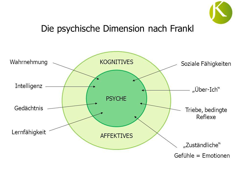 PSYCHE KOGNITIVES AFFEKTIVES Wahrnehmung Intelligenz Gedächtnis Lernfähigkeit Soziale Fähigkeiten Über-Ich Triebe, bedingte Reflexe Zuständliche Gefüh