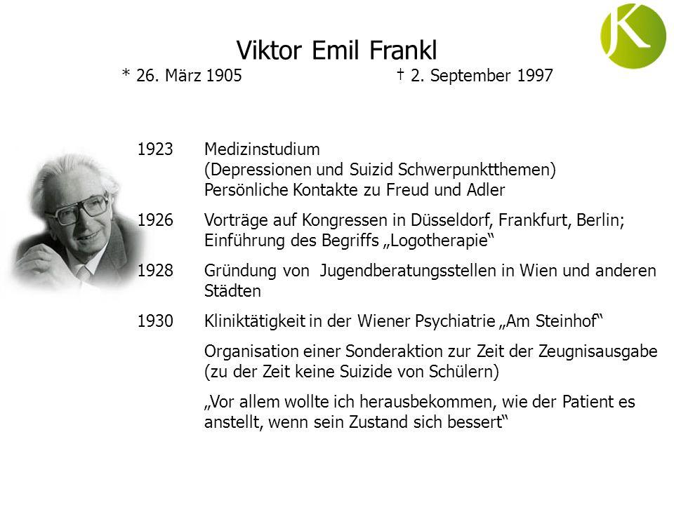 ab 1933 Leitung des Selbstmörderinnenpavillons, Psychiatrisches Krankenhaus in Wien (Oberarzt, Behandlung von bis zu 3000 selbstmordgefährdeten Frauen pro Jahr) 1937Praxiseröffnung 1938 Verbot, arische Patienten zu behandeln 1939Aufsatz Philosophie und Psychotherapie.