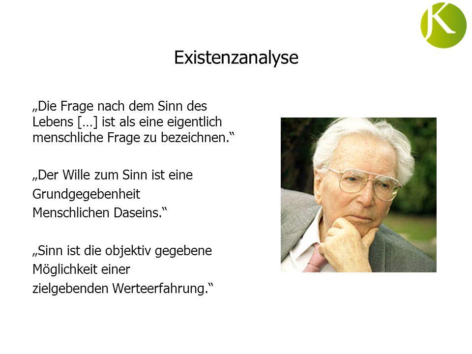 Existenzanalyse Die Frage nach dem Sinn des Lebens […] ist als eine eigentlich menschliche Frage zu bezeichnen. Der Wille zum Sinn ist eine Grundgegeb
