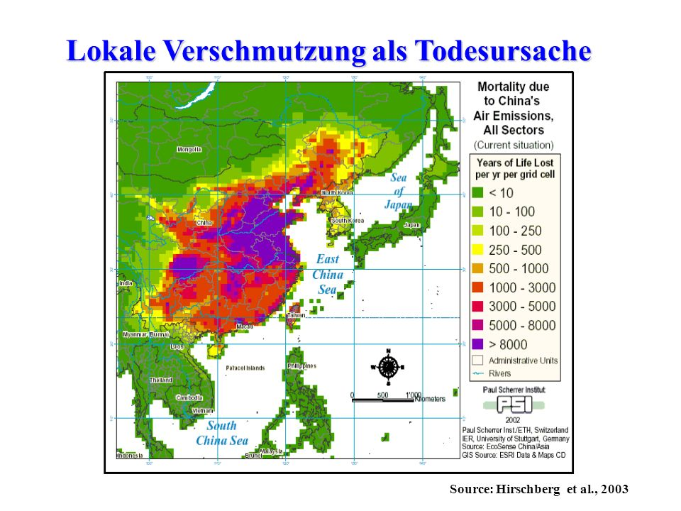 Source: Hirschberg et al., 2003 Lokale Verschmutzung als Todesursache