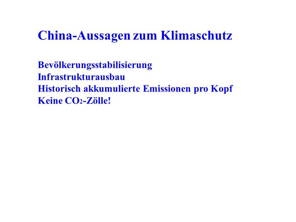 China-Aussagen zum Klimaschutz Bevölkerungsstabilisierung Infrastrukturausbau Historisch akkumulierte Emissionen pro Kopf Keine CO 2 -Zölle!