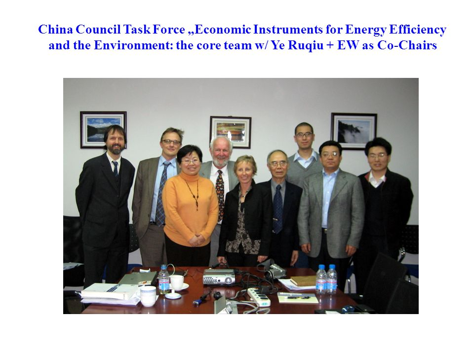 China Council Task Force Economic Instruments for Energy Efficiency and the Environment: the core team w/ Ye Ruqiu + EW as Co-Chairs