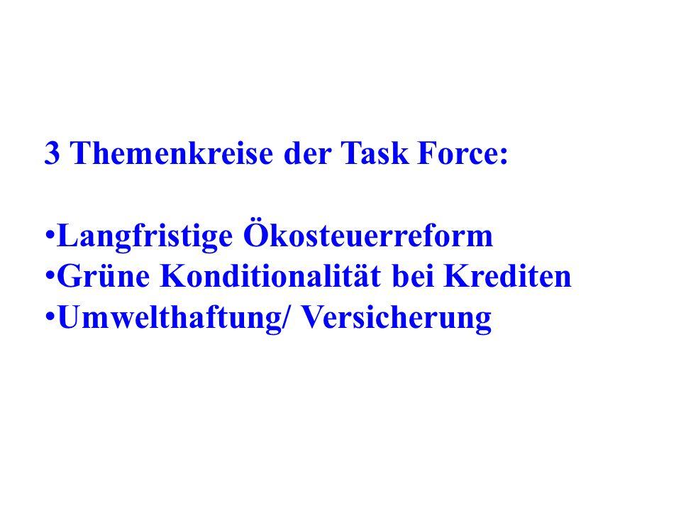 3 Themenkreise der Task Force: Langfristige Ökosteuerreform Grüne Konditionalität bei Krediten Umwelthaftung/ Versicherung