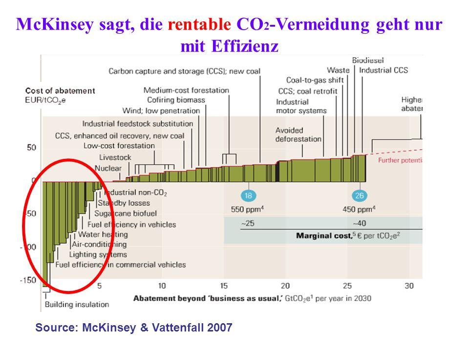 Source: McKinsey & Vattenfall 2007 McKinsey sagt, die rentable CO 2 -Vermeidung geht nur mit Effizienz