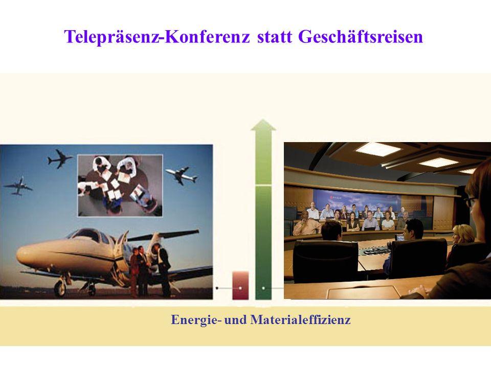 Energie- und Materialeffizienz Telepräsenz-Konferenz statt Geschäftsreisen