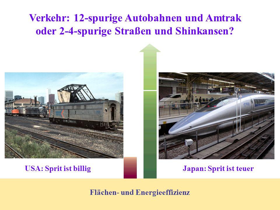 Verkehr: 12-spurige Autobahnen und Amtrak oder 2-4-spurige Straßen und Shinkansen.