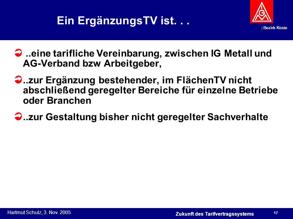 Bezirk Küste Hartmut Schulz, 3. Nov. 2005 17 Zukunft des Tarifvertragssystems Ein ErgänzungsTV ist.....eine tarifliche Vereinbarung, zwischen IG Metal