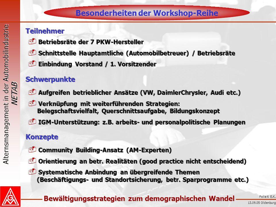 Alternsmanagement in der Automobilindustrie NETAB Bewältigungsstrategien zum demographischen Wandel 13.09.05 Oldenburg Folie 7 E.K.