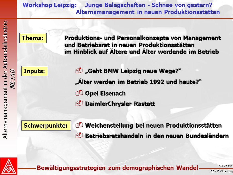 Alternsmanagement in der Automobilindustrie NETAB Bewältigungsstrategien zum demographischen Wandel 13.09.05 Oldenburg Folie 8 E.K.